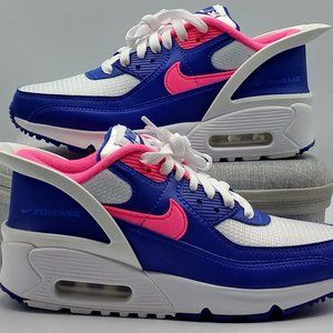 Nike Air Max 90 Flyease Girls Size 3.5Y Blue/Pink